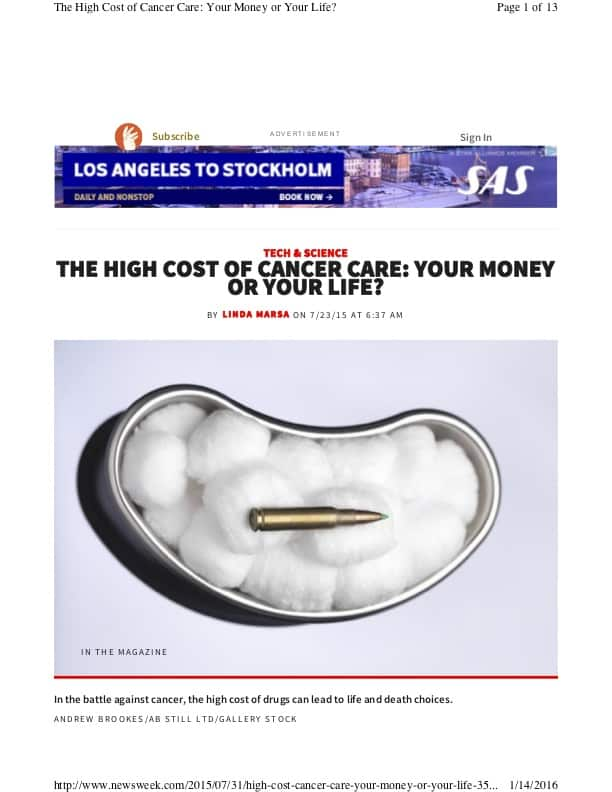 The High Cost of Cancer Care