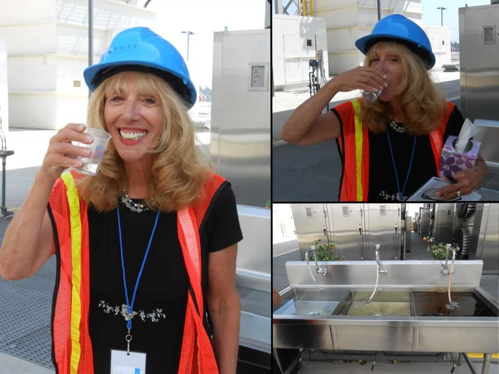 "Linda drinking water from Orange County, California's ""toilet to tap"" Groundwater Replenishment System."