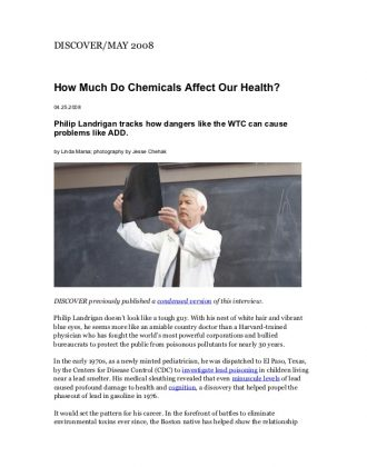 How Much Do Chemicals Affect Our Health